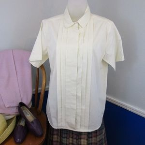 Vintage Pleated Front Peter Pan Collar Blouse